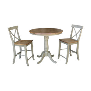 Hickory and Stone 36-Inch Hardwood Round Extension Dining Table With X-back Counter Height Stools, Three-Piece