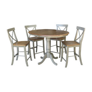 Hickory and Stone 36-Inch Round Extension Dining Table With X-Back Four Counter Height Stools, Five-Piece