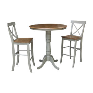Hickory and Stone 36-Inch Round Extension Dining Table With X-Bar Height Stools, Three-Piece