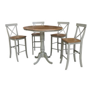 Hickory and Stone 36-Inch Round Extension Dining Table With Four X-Back Bar Height Stools, Five-Piece