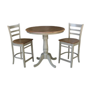 Emily Hickory and Stone 36-Inch Round Extension Dining Table With Two Counter Height Stools, Three-Piece