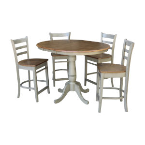 Emily Hickory and Stone 36-Inch Round Extension Dining Table With Four Counter Height Stools, Five-Piece
