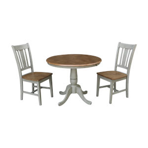 San Remo Hickory and Stone 36-Inch Hardwood Round Extension Dining Table With Chairs, Three-Piece