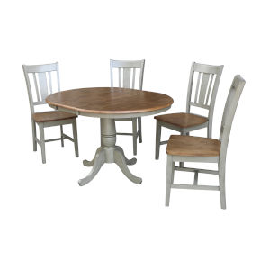 San Remo Hickory and Stone 36-Inch Round Extension Dining Table With Four Chairs, Five-Piece
