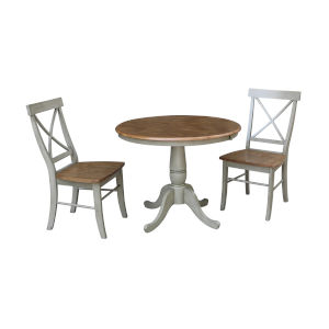 Hickory and Stone 36-Inch Round Extension Dining Table With Two X-Back Chairs, Three-Piece