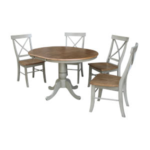Hickory and Stone 36-Inch Round Extension Dining Table With Four X-Back Chairs, Five-Piece