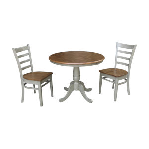 Emily Hickory and Stone 36-Inch Round Extension Dining Table With Two Chairs, Three-Piece