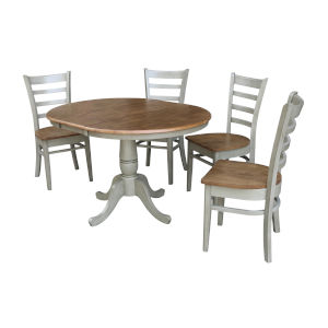 Emily Hickory and Stone 36-Inch Round Extension Dining Table With Four Chairs, Five-Piece