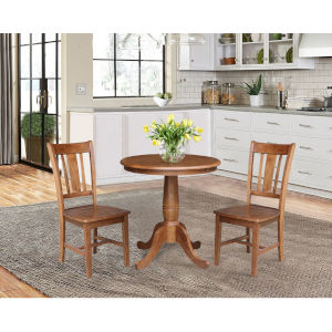 San Remo Distressed Oak 30-Inch Round Top Pedestal Table with Two Chair, Set of Three