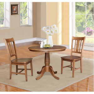 San Remo Distressed Oak 36-Inch Round Top Pedestal Table with Two Chair, Set of Three
