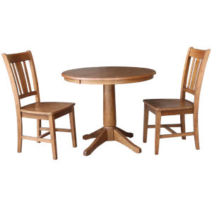 San Remo Distressed Oak 30-Inch Round Extension Dining Table with Two Chair