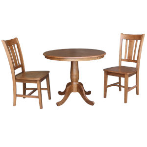 San Remo Distressed Oak 29-Inch Round Extension Dining Table with Two Chair