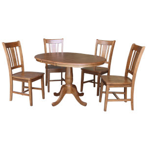 San Remo Distressed Oak 29-Inch Round Extension Dining Table with Four Chair