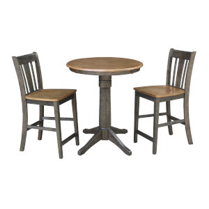 San Remo Hickory and Washed Coal 30-Inch Round Pedestal Gathering Height Table With Counter Height Stools, Three-Piece