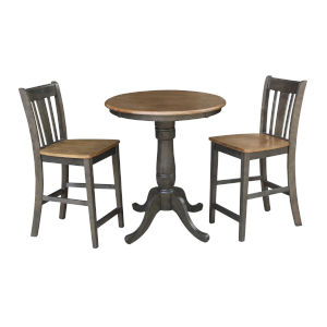 San Remo Hickory and Washed Coal 30-Inch Pedestal Gathering Height Table With Counter Height Stools, Three-Piece