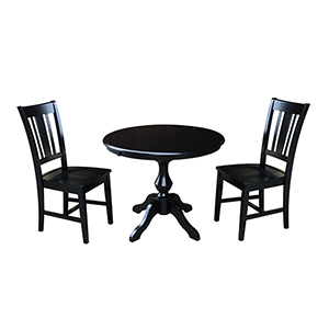 Black 36-Inch Curved Pedestal Dining Table with 12-Inch Leaf and Two San Remo Chairs