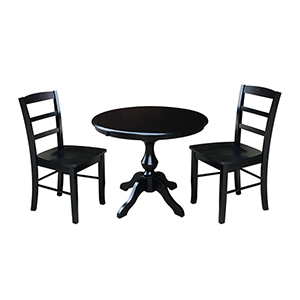 Black 36-Inch Curved Base Dining Table with 12-Inch Leaf and Two Madrid Chairs