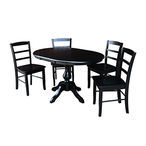Black 36-Inch Curved Base Dining Table with 12-Inch Leaf and Four Madrid Chairs