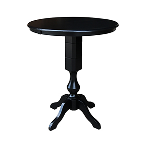 Black 36-Inch Curved Pedestal Bar Height Table with 12-Inch Leaf