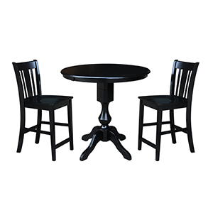 Black 36-Inch Counter Height Table with 12-Inch Leaf and Two San Remo Stools