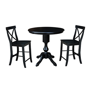 Black 36-Inch Counter Height Table with 12-Inch Leaf and Two X-Back Stools