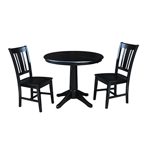 Black 36-Inch Straight Pedestal Dining Table with 12-Inch Leaf and Two San Remo Chairs