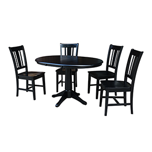 Black 36-Inch Straight Pedestal Dining Table with 12-Inch Leaf and Four San Remo Chairs