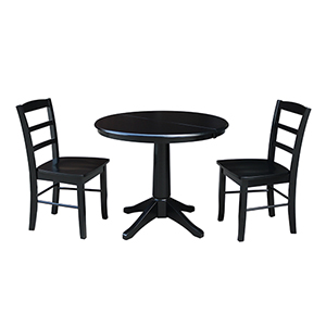 Black 36-Inch Straight Pedestal Dining Table with 12-Inch Leaf and Two Madrid Chairs