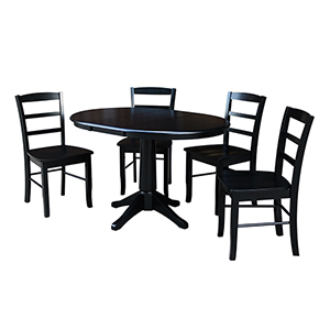 Black 36-Inch Straight Pedestal Dining Table with 12-Inch Leaf and Four Madrid Chairs