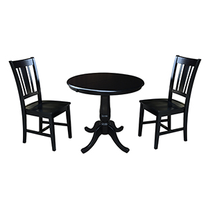 Black 36-Inch Curved Base Dining Table with 12-Inch Leaf and Two San Remo Chairs