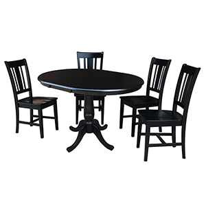 Black 36-Inch Curved Base Dining Table with 12-Inch Leaf and Four San Remo Chairs