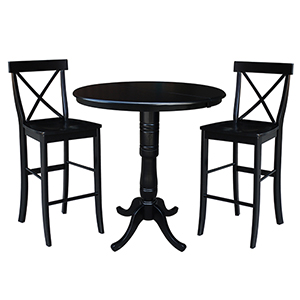 Black 36-Inch Bar Height Table with 12-Inch Leaf and Two X-Back Stools