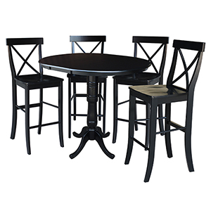 Black 36-Inch Bar Height Table with 12-Inch Leaf and Four X-Back Stools