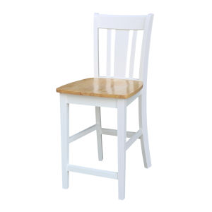 San Remo White Natural Bar Stool