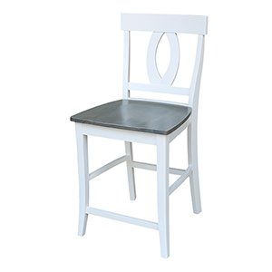 Verona White and Heather Gray Counter Height Stool