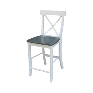 White and Heather Gray X-Back Counterheight Stool