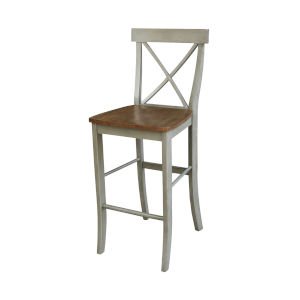 Hickory and Stone X-Back Barheight Stool