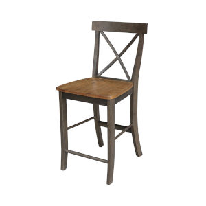 Hickory and Washed Coal X-Back Counterheight Stool