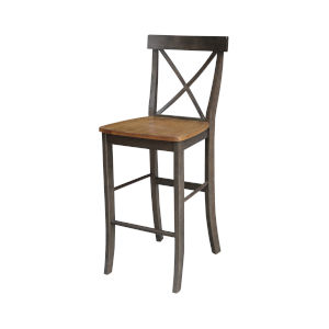 Hickory and Washed Coal X-Back Barheight Stool