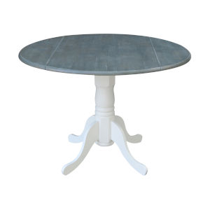 White and Heather Gray 42-Inch Round Dual Drop Leaf Pedestal Table