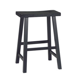 Black 24-Inch Saddle Seat Wood Bar Stool