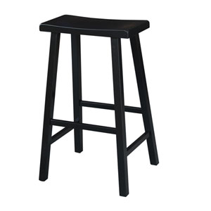Black 29-Inch Saddle Seat Wood Bar Stool