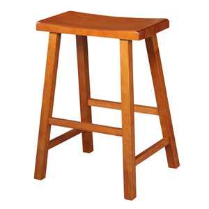 Rustic Oak 24-Inch Saddle Seat Wood Bar Stool