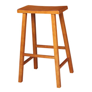 Rustic Oak 29-Inch Saddle Seat Wood Bar Stool