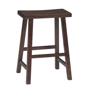 Walnut 24-Inch Saddle Seat Wood Bar Stool