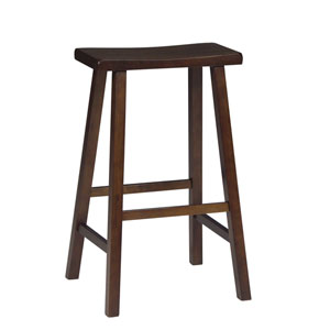 Walnut 29-Inch Saddle Seat Wood Bar Stool