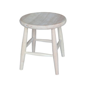 18-Inch Unfinished Wood Scooped Seat Stool