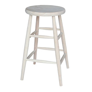 30-Inch Unfinished Wood Scooped Seat Stool