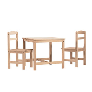 Unfinished Wood Three Piece Children's Table and Chairs