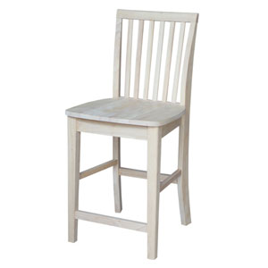 Mission 24-Inch Unfinished Wood Counter Stool